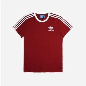 Adidas Original 3 Stripes Tee Shirt Burgundy Small